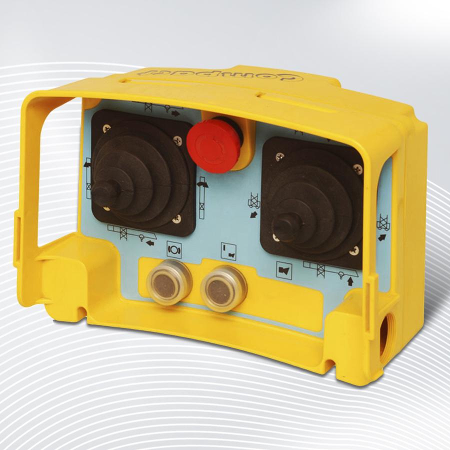 Steuerpult Compact zur Kontrolle von Kran- & Förderanlagen. Mit Hilfe der Joysticks und Tasten können Schütze oder Frequenzumrichter angesteuert werden.
