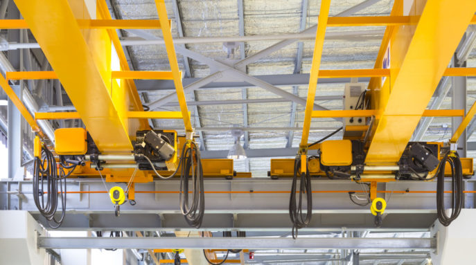 Factory overhead crane installation on rail, 